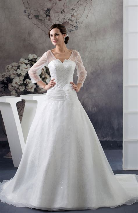 white  sleeves bridal gowns allure illusion long