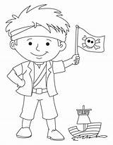 Pirate Flag Pages Coloring Boy Waving Preschool Sheet Template Printable Skull Ship Getdrawings Popular sketch template