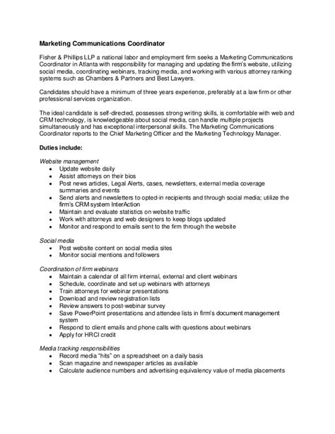 Communications Coordinator Resume by Marketing Communications Coordinator Description