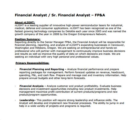 sle financial analyst resume 11 documents in pdf word