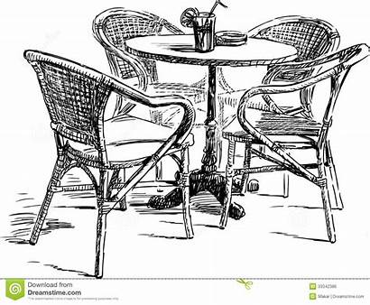 Cafe Outdoor Drawing Vector Furniture Street Royalty