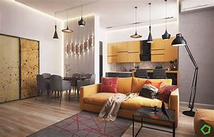 3, Open, Layout, Interiors, With, Yellow, As, The, Highlight, Color
