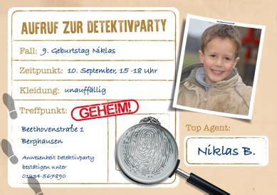 einladung fuer die detektivparty zum  kindergeburtstag
