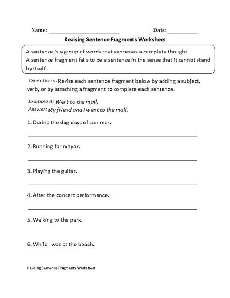 englishlinx sentence fragments worksheets
