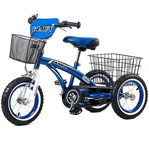 Tauki Kids Tricycle with Front and Rear Baskets,