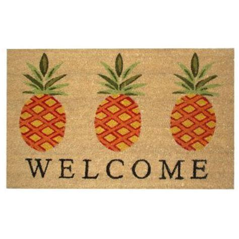 pineapple door mat home pineapple welcome coir vinyl 18 in x 30 in