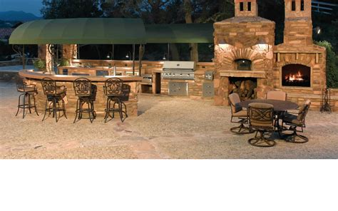 Marvelous Outdoor Kitchen With Stone Design And Good