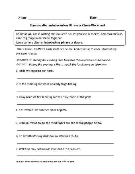 commas after introductory phrases worksheets commas after introductory phrase or clause worksheet