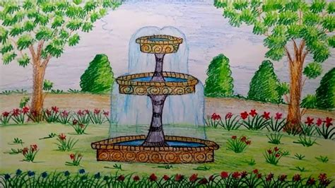How To Draw Garden Fountain Step By Step By Using Water