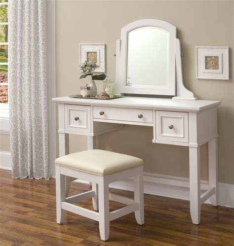 Bedroom Vanity Set White by Homestyles Naples White Vanity Dressing Makeup Table 5530
