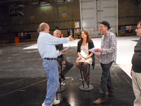 going over script with philip and moira script rehearsal