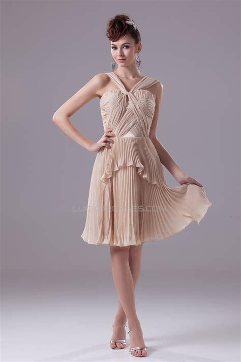 knee length pleated chiffon short bridesmaid