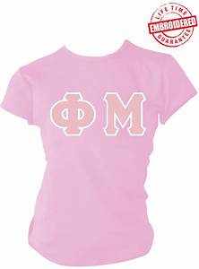 phi mu greek letter t shirt pink embroidered with With phi mu stitched letter shirts
