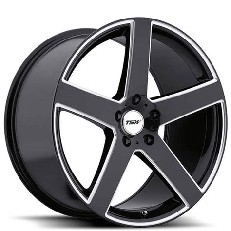 staggered tsw wheels rivage gloss black  milled