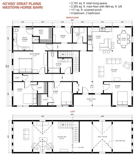 40x60 House Floor Plans by 40x60 Floor Plan Pre Designed Great Plains Western