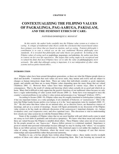 Contextualizing the filipino values