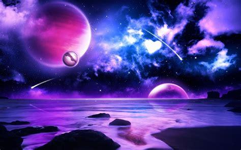 lila meteore planeten im weltraum  hd