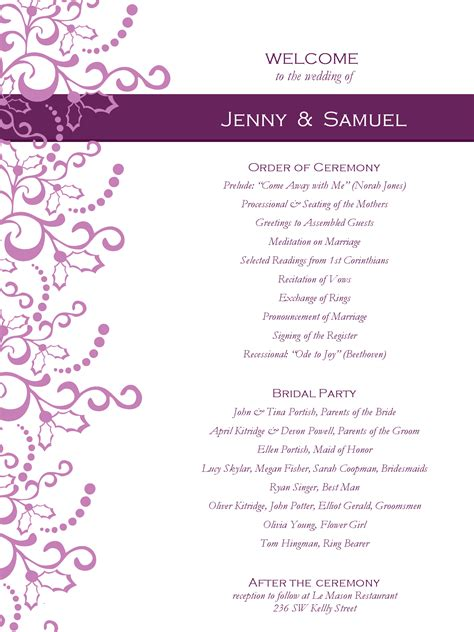 wedding program templates  weddingclipartcom