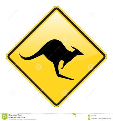 kangaroo warning sign stock  image
