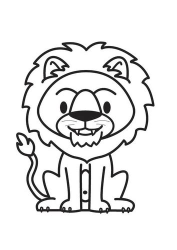 print  jungle animal lion coloring page