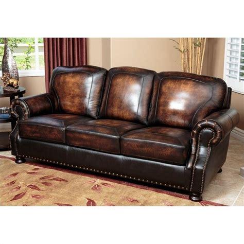 abbyson living tannington leather sofa in brown sk 2308