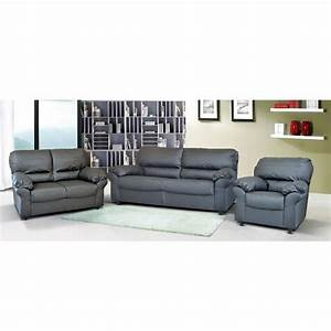 Ottawa sofa set in grey faux leather with dark feet for Grey sectional sofa ottawa
