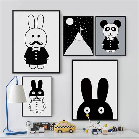 poster chambre bebe modern minimalist nordic black white kawaii animals a4