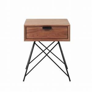 Maison Du Monde Chevet : table de chevet vintage avec tiroir en noyer massif l 37 cm berkley maisons du monde ~ Teatrodelosmanantiales.com Idées de Décoration