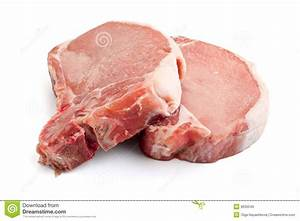 Raw Pork Chops On White Background Stock Photo - Image ...