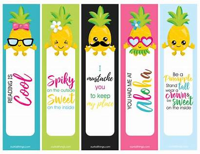 Bookmarks Pineapple Printable Summer Fun Reading Kid