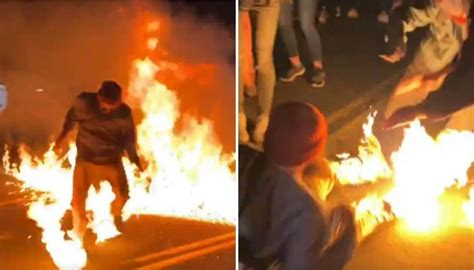 portland matter lives fire protester catches march during newshub