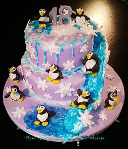 Penguin Themed Cake With Water Slide And Hidden Fairy