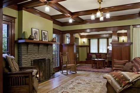 laurelhurst  craftsman living room  hooked