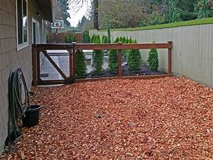 the dogs now have a safe and secure area to play outside With cedar shavings for dog kennels