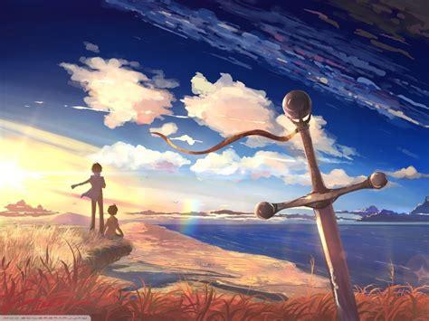 sword couple sky anime boys anime girls sea clouds