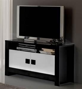 Meuble Tv Pisa Laquee Bicolore Noir Blanc Noirblanc