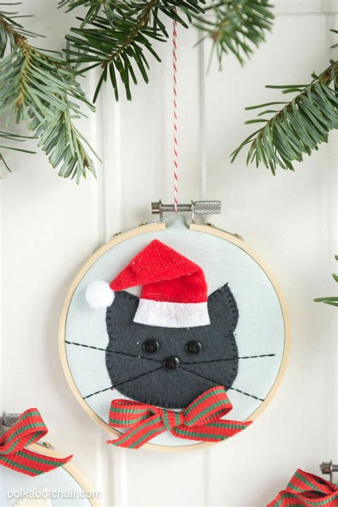 cat embroidery hoop christmas ornaments  polka dot chair