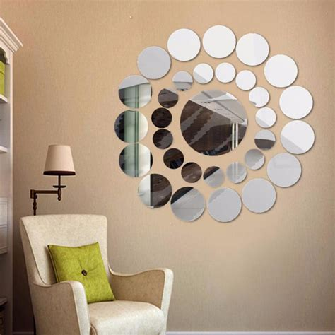 An oval silver mirror hangs from a white shiplap wall over a blond wood open washstand accented with a white and gray marble. ISHOWTIENDA 31Pcs DIY Acrylic Art Sticker Cute Silver DIY Circle Mirror Wall Stickers Home ...