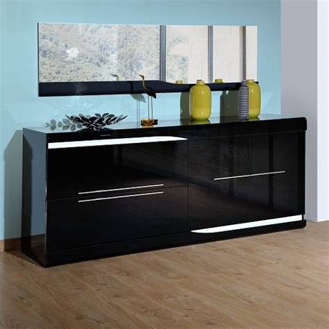 Gloss Sideboards Furniture by Ovio Black Gloss Sideboard With Led Lights Sideboards