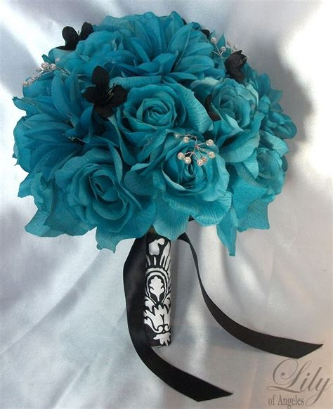 teal wedding bouquet 17 package wedding bridal of honor 7931