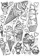 Coloring Ice Pages Cream Adult Books Cute Printable Sheets Cupcake Cupcakes Creams Kawaii Drawings Cakes Doodle Printables Coloriage Colorir Adults sketch template