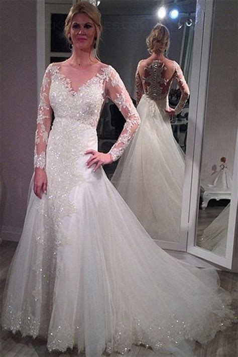 long sleeves sheer lace wedding dresses bridal gowns