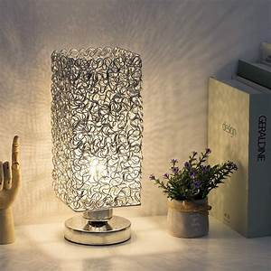 Modern, Nightstand, Lamp, With, Square, Wiring, Shade, Silver