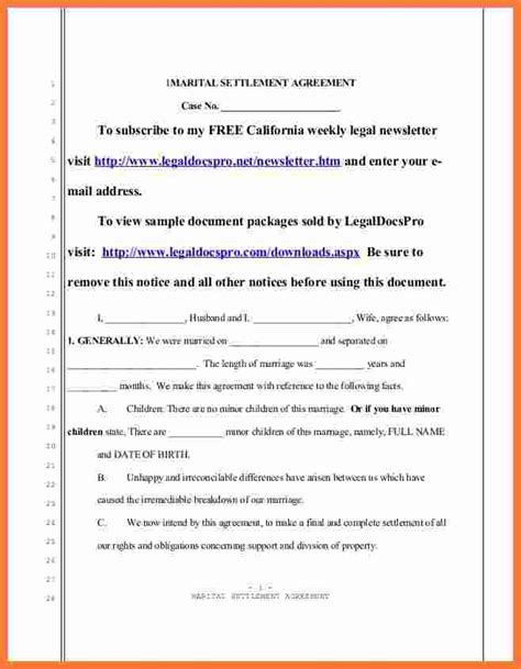 divorce settlement agreement marital settlements
