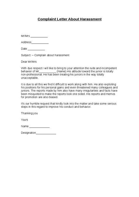 5+ Harassment Complaint Letters – Find Word Letters