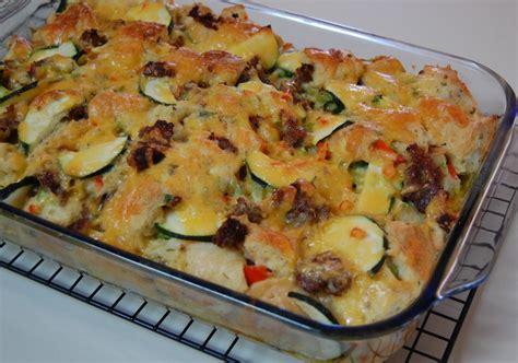 zucchini sausage casserole zucchini and sausage strata cooking mamas