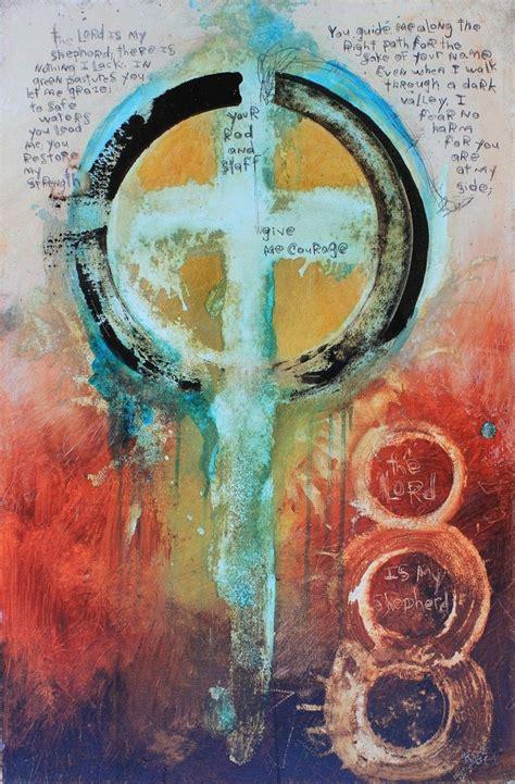 original abstract cross art painting  cross art