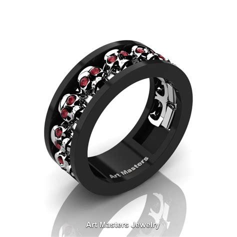 mens skull wedding ring mens modern 14k black and white gold ruby skull channel
