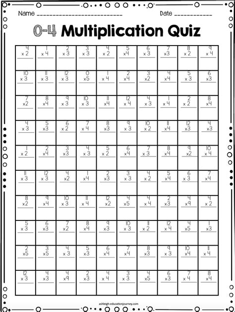 multiplication facts for elementary students math