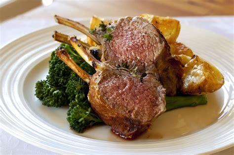 lamb dinner stock photo image  chops food meat lamb